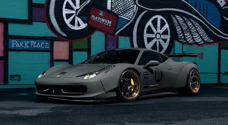 Grey Liberty Walk Ferrari 458 Italia On Gold Adv 1 Wheels