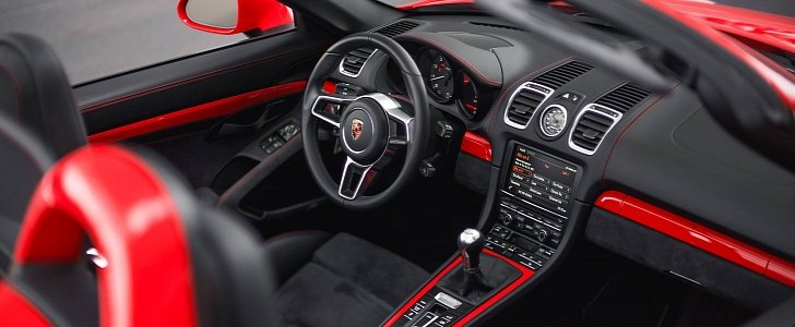 guards red porsche boxster spyder with color matched interior already for sale autoevolution. Black Bedroom Furniture Sets. Home Design Ideas