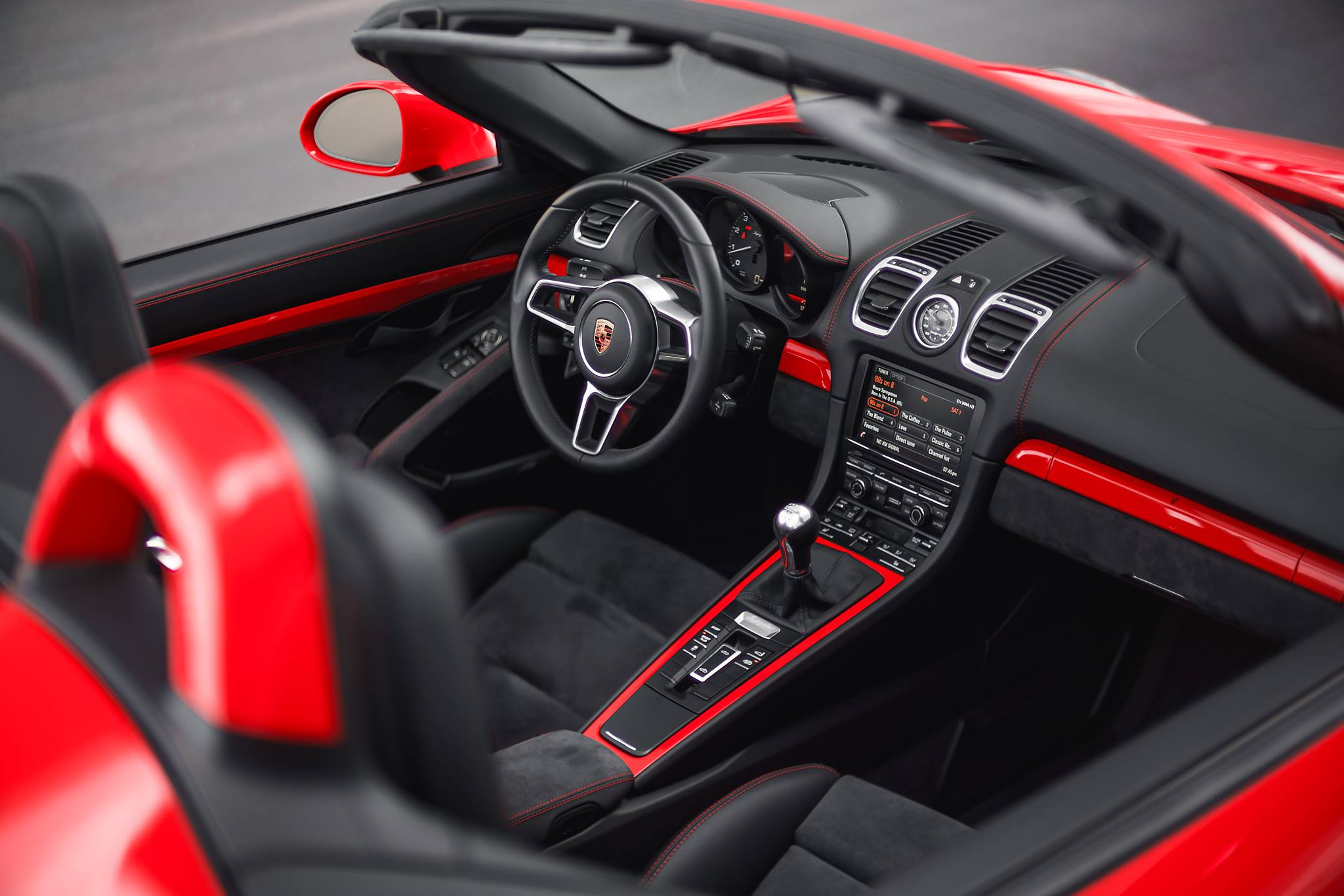 3 Photos. Guards Red Porsche Boxster Spyder Guards Red Porsche Boxster  Spyder Interior