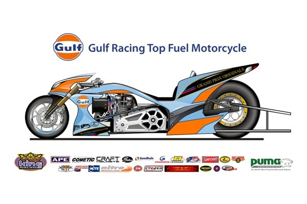 Gulf Racing Top Fuel Drag Bike Previewed Autoevolution