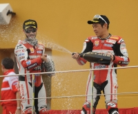 Haga and Fabrizio celebrate Valencia podium