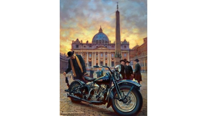 Harley Davidson And The Vatican Art By David Uhl