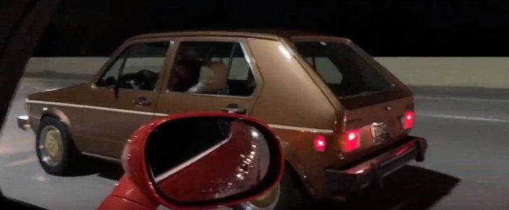 Hellcat Drag Races Mk I Volkswagen Golf Sleeper, Defeat Is Humiliating
