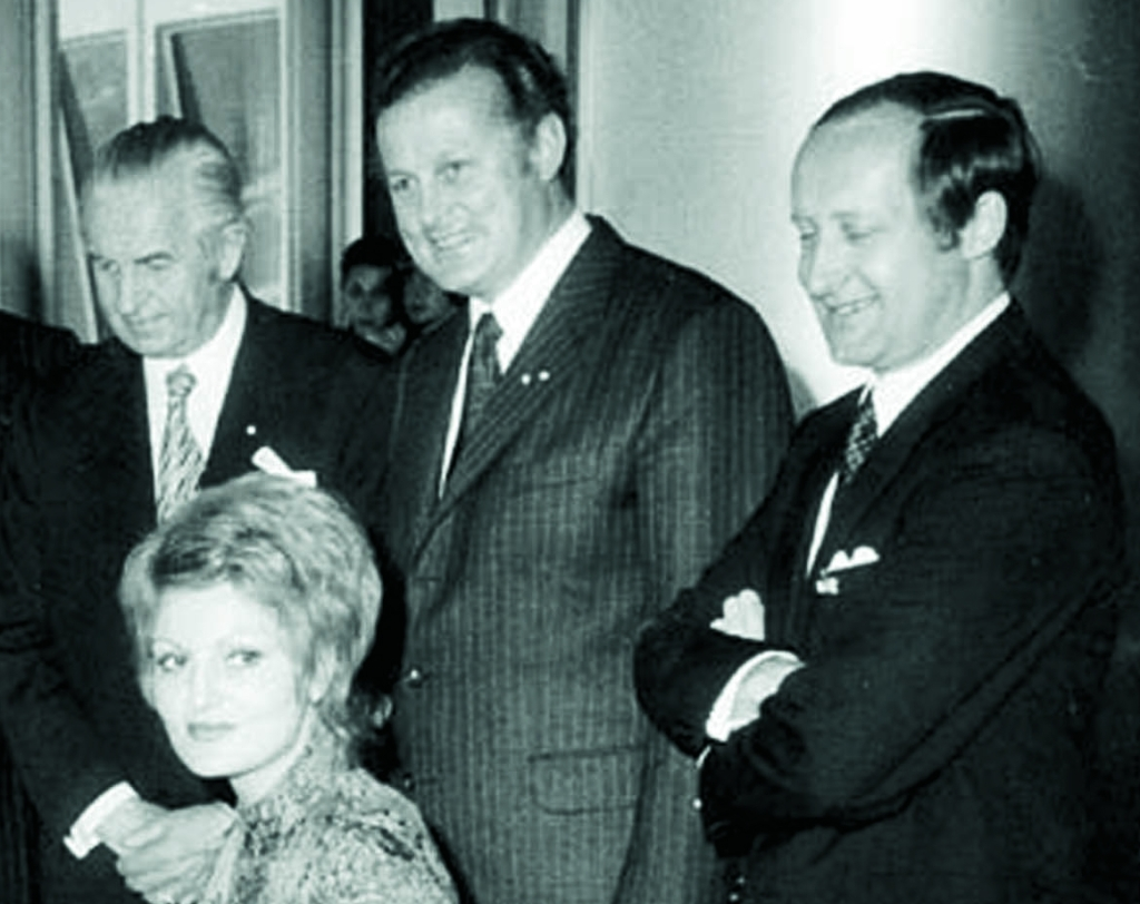 Herbert Quandt (left) and a few BMW shareholders. Check out the look on the guy from the right.