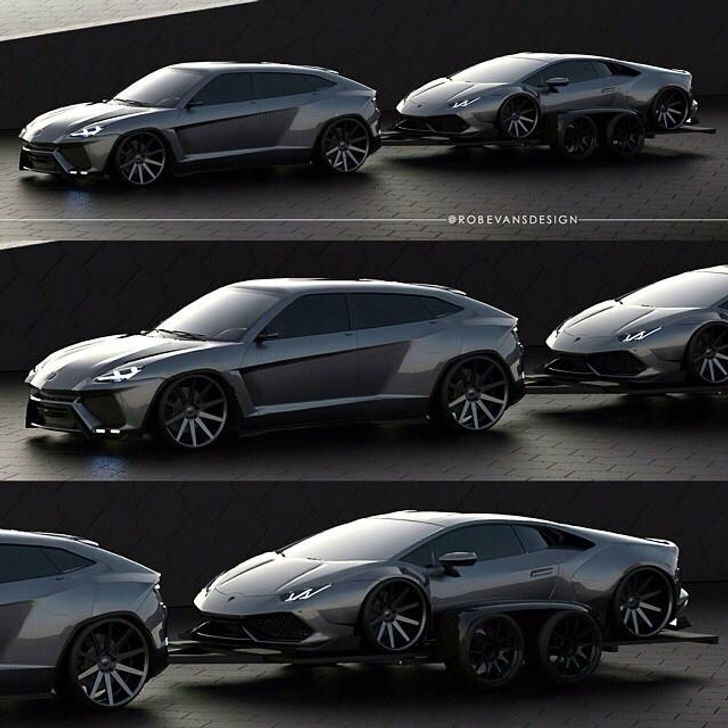 here s a lamborghini suv towing a huracan rendering autoevolution. Black Bedroom Furniture Sets. Home Design Ideas