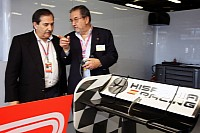 Jose Ramon Carabante (left) in the HRT garage
