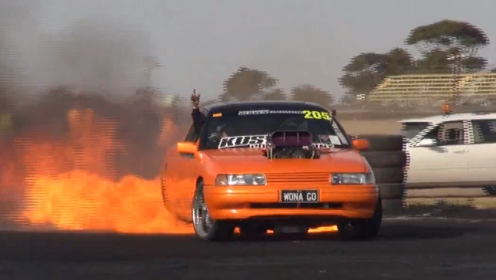 Holden Ute Goes Up In Flames During Insane Burnout