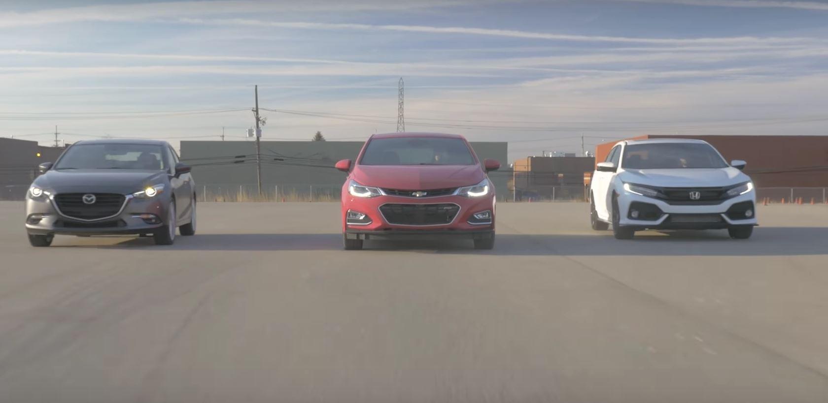 Honda Civic Hatchback Vs. Mazda3 Vs. Chevy Cruze Includes A Short Race