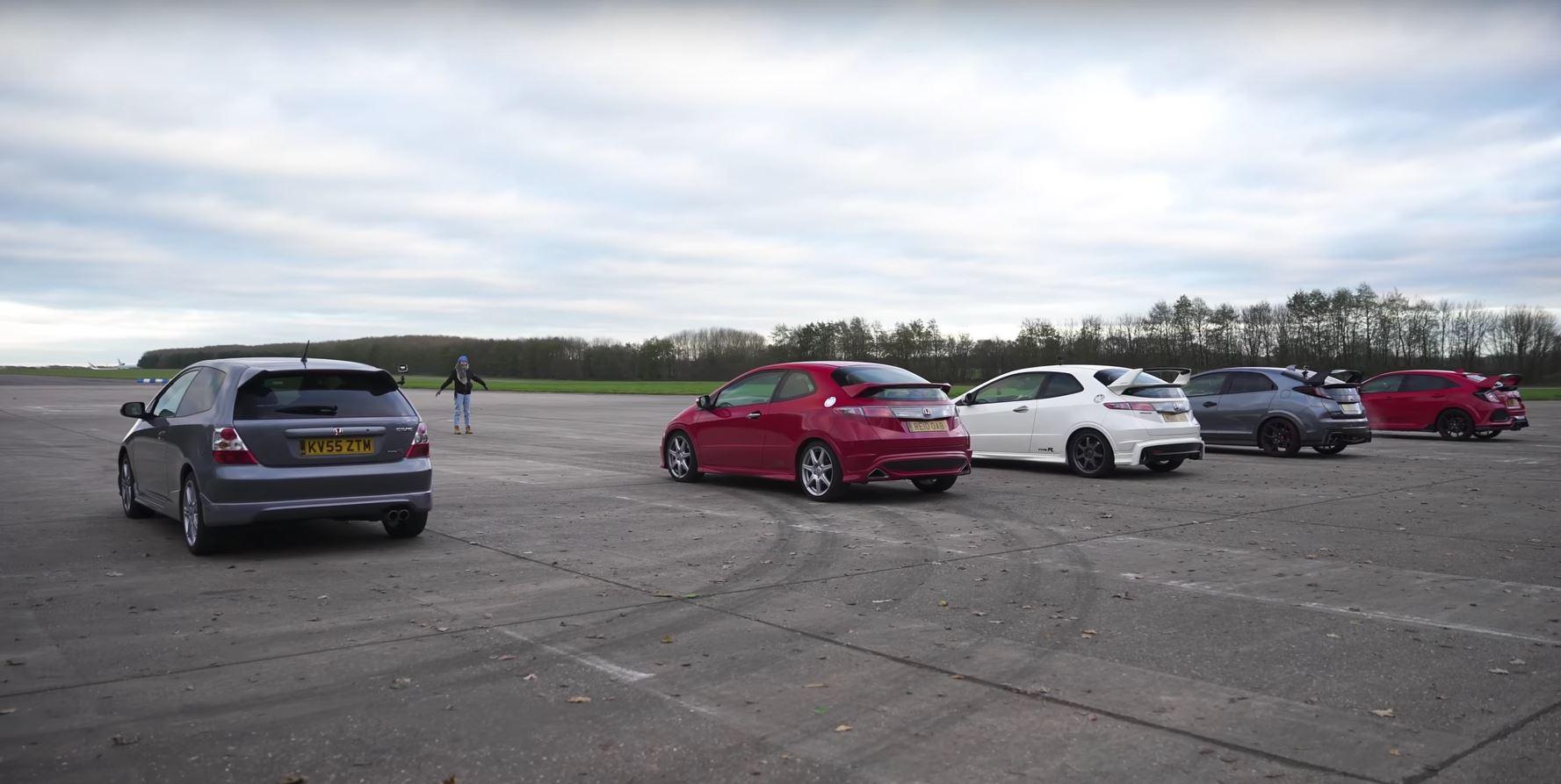 Honda Civic Type R Drag Race Features Ep Fn Fn Mugen Fk And Fk on 1997 Honda Civic Hatchback Engine