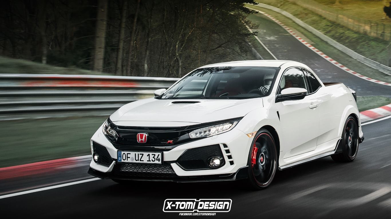 honda civic type r pickup rendering is a weird twist on nurburgring record autoevolution. Black Bedroom Furniture Sets. Home Design Ideas