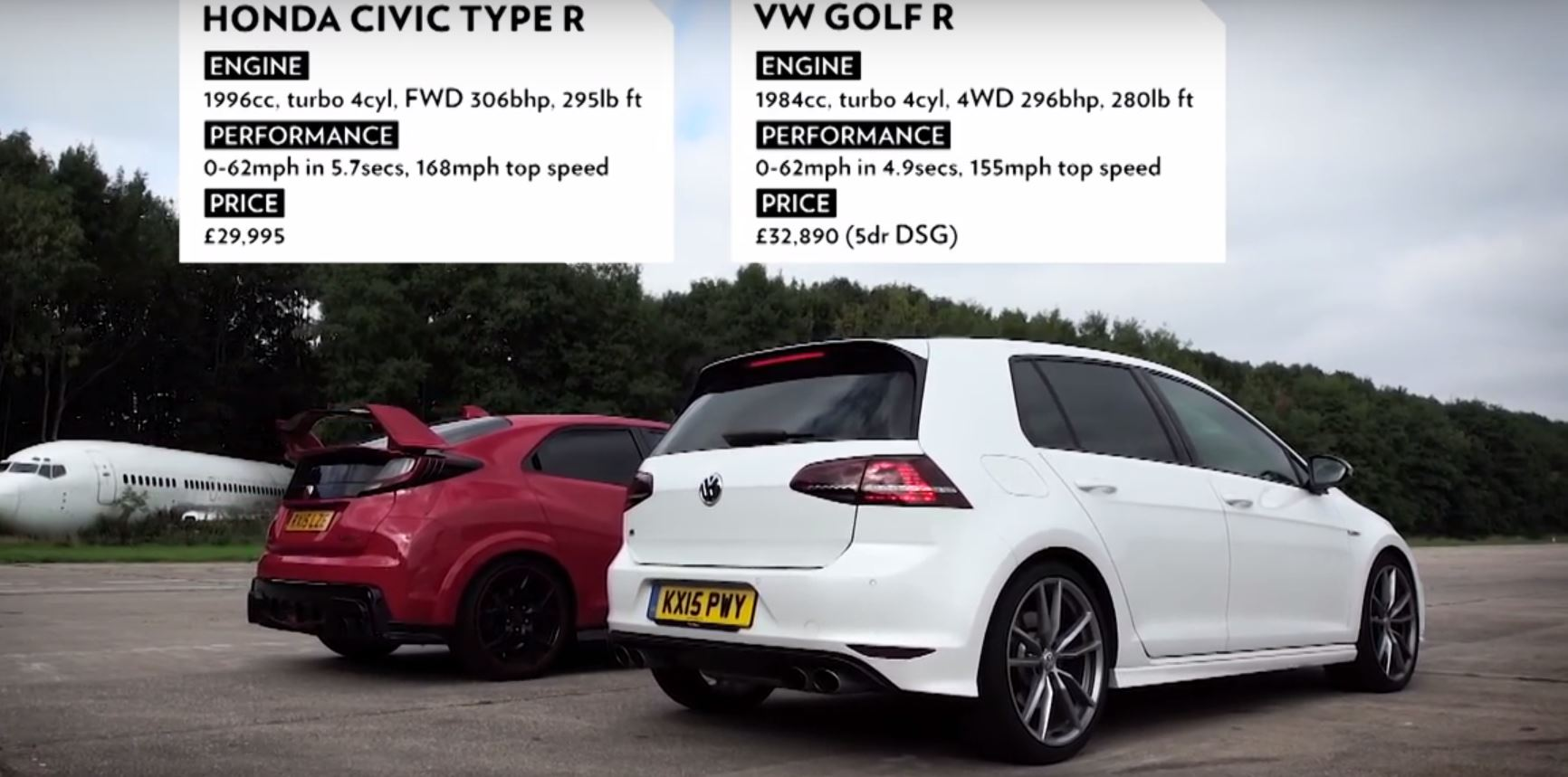 Honda Civic Type R Takes On VW Golf R in Hot Hatch Drag Race