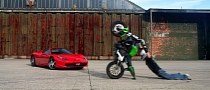 Hot to Show Respect to a Ferrari: Extreme Bike Wheelie