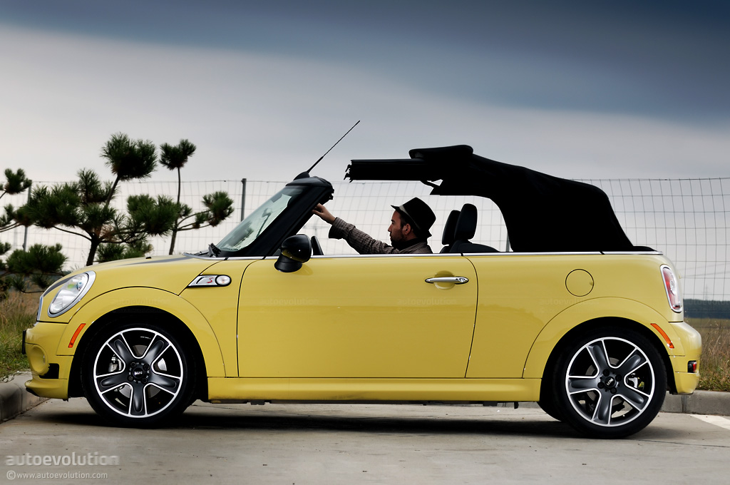 Mini Cooper S With The Soft Top Folding Down