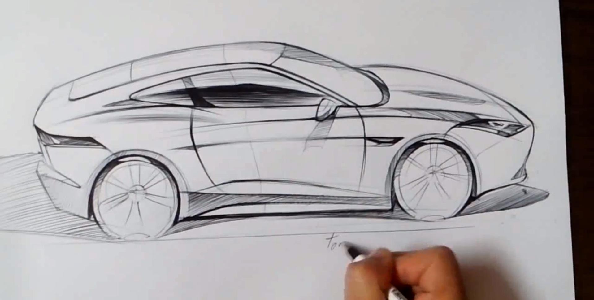jaguar car drawing - photo #35