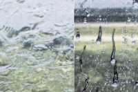 Without and with the rain repeller applied on the car's windshield