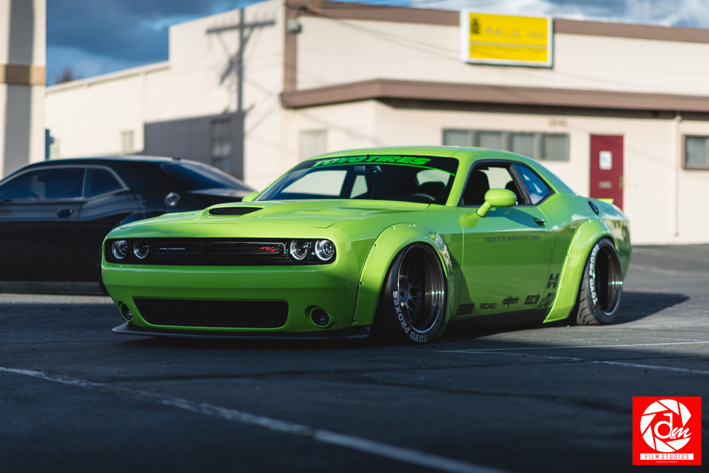 Hulk Green Dodge Challenger Scat Pack Gets Liberty Walk Body Kit