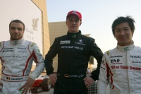 Hulkenberg (centre), D'Ambrosio (left) and Kobayashi (right) - top 3 qualifiers in Bahrain