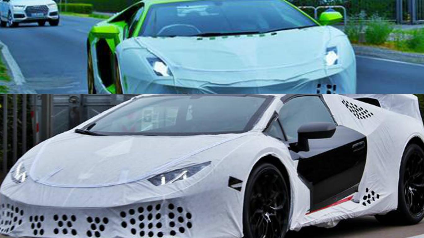 Huracan Superleggera And Green Aventador Miura Homage Spied With