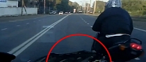 Idiot Russian Rider Smashes Car's Bumper and Flees [Video]