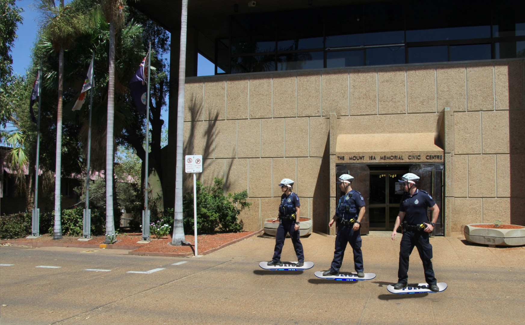 In Mount Isa Australian Police Officers Rode Hoverboards