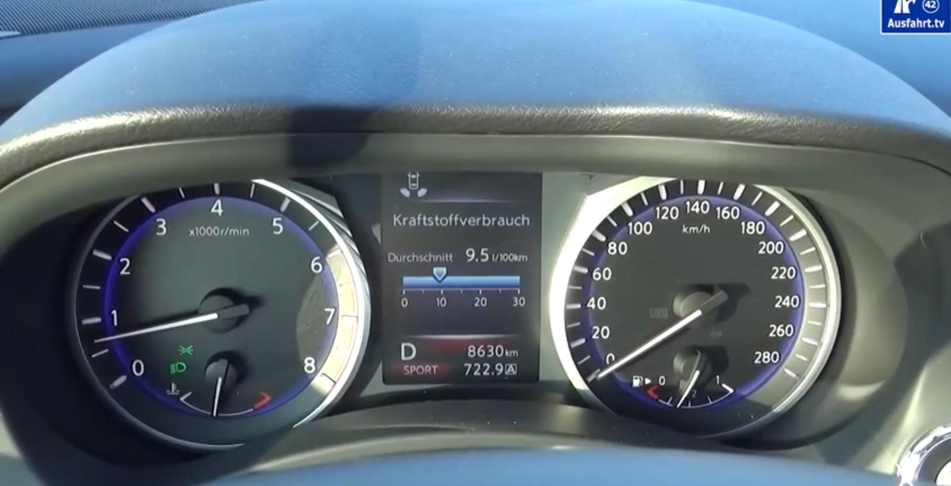 Infiniti q50 2 0t acceleration test 0 to 100 km h decent sounding engine