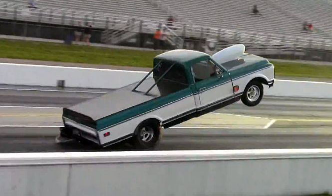 Insane 10.4-liter Chevy Pickup Does Wheel Stand [Video]