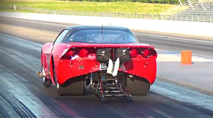 Insane Twin Turbo C6 Corvette at the Dragstrip