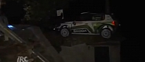 IRC Skoda Fabia Rally Car Crashes on Top of House [Video]