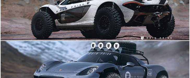 Jeep Wrangler V8 2017 >> Jacked-Up Porsche 918 Spyder Fights Lifted McLaren P1 in Offroad Render Battle - autoevolution
