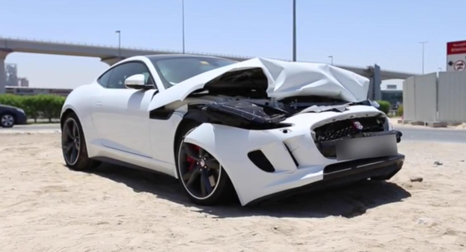 Jaguar F Type R Coupe Wrecked In Dubai Autoevolution