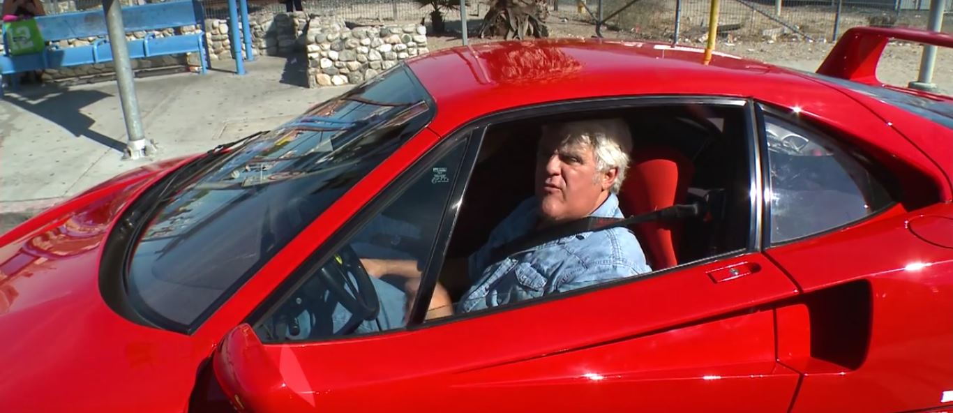 jay leno's first ferrari f40 drive sees him searching for porsches
