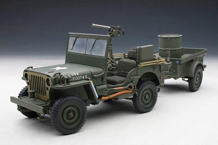 jeep willys scale model shows trailer full of artillery accessories autoevolution. Black Bedroom Furniture Sets. Home Design Ideas