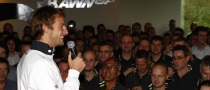 Jenson Button Gives Title-Winning Speech at Brackley Headquarters