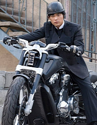 Kato riding the custom V-Rod