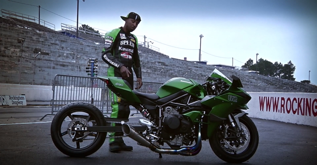 Kawasaki Ninja H2 Hybrid Shows Up At The Drag Strip With Rickey Gadson