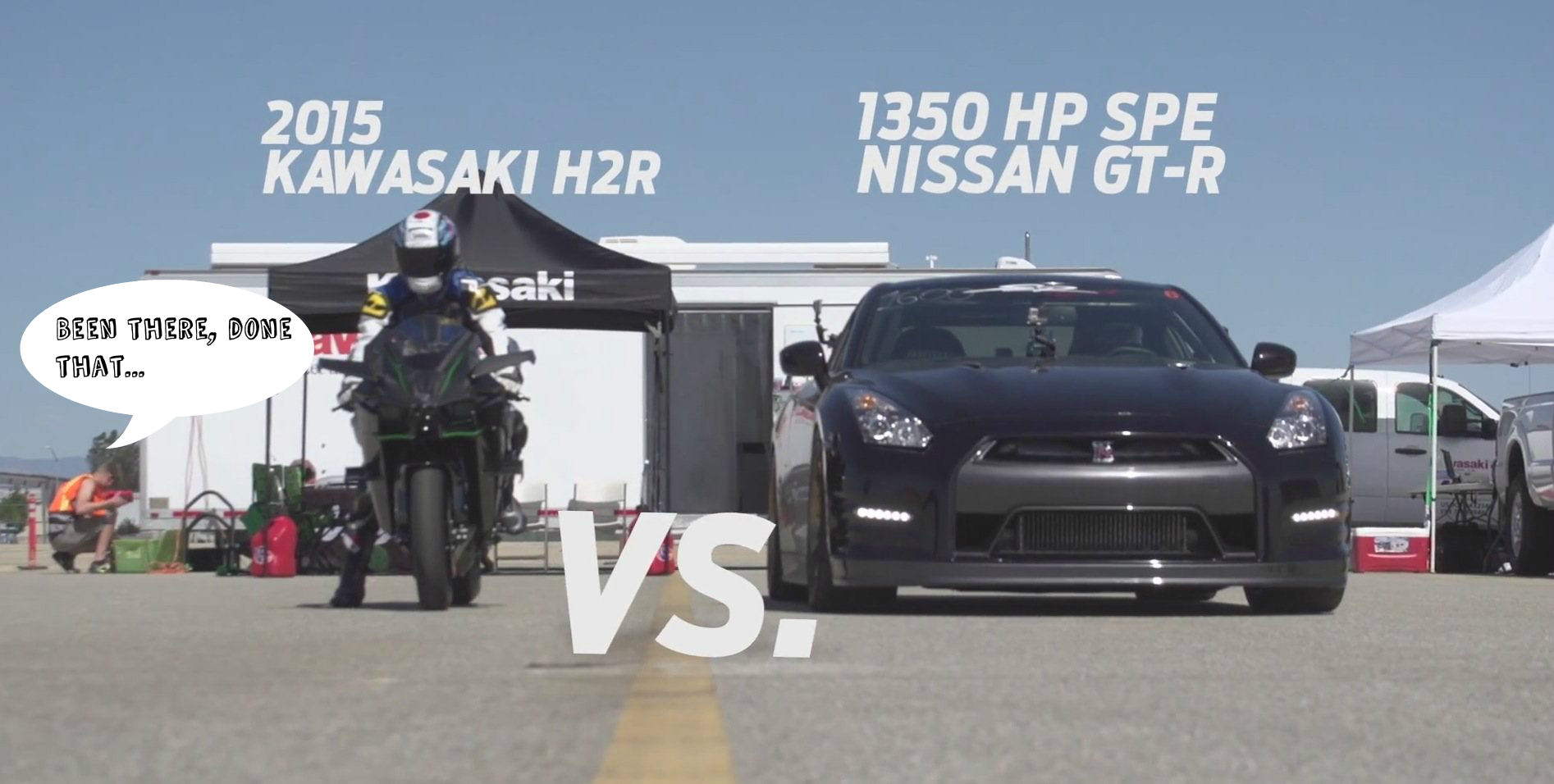 Kawasaki Ninja H2r Drag Races 1350 Hp Nissan Gt R Gets Trampled