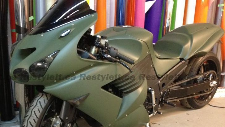 Kawasaki ZX-14R in Matte Military Green Says 'Teeeention!