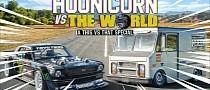 Ken Block's 1400 HP Hoonicorn Mustang Plays Drag Racing Games With 400 HP Van
