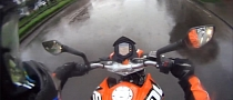 KTM Rider Hydroplanes, Remains Upright [Video]