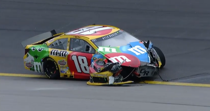Kyle Busch Wrecks in Kansas Practice [Video]