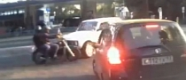 Lada Driver Ignores Rules, Crashes Hard into Motorcycle [Video]