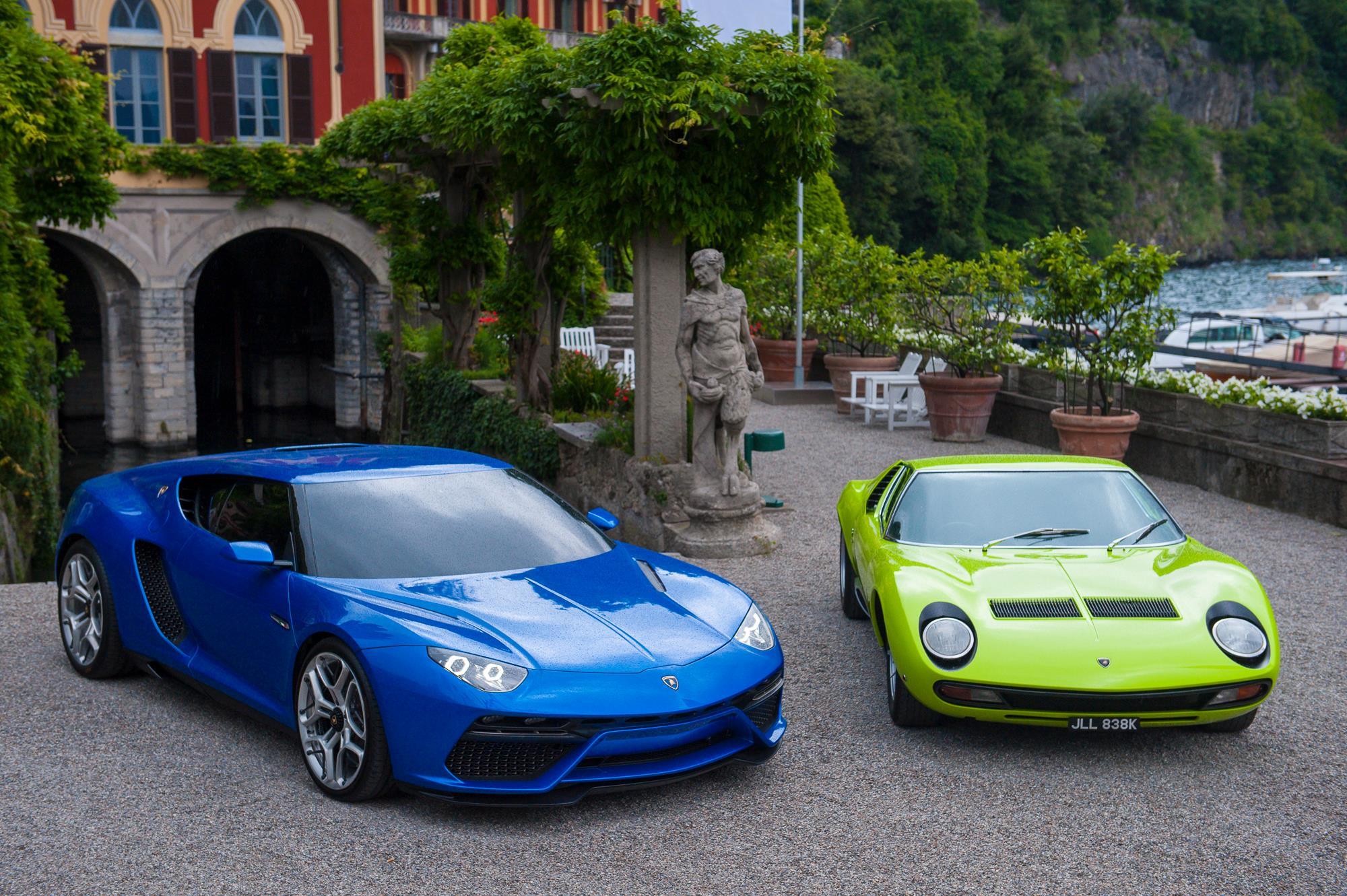 Lamborghini Asterion Shows Small Boot Poses Next To Miura