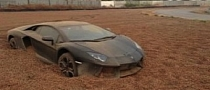 Lamborghini Aventador Buried Alive in Gravel Trap