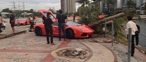 Lamborghini Aventador Crashes into Tree while Drag Racing