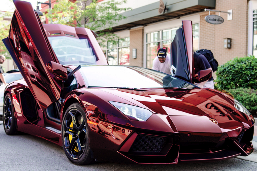 Lamborghini Aventador Gets Chrome Red Wrap  autoevolution