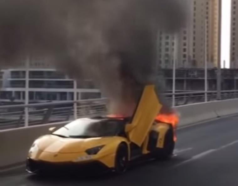 Lamborghini Aventador Sv Roadster Burns To A Crisp In Dubai 1 Of