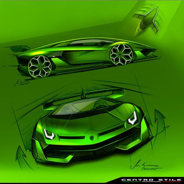 Lamborghini Aventador Svj Factory Design Sketches Are Poster
