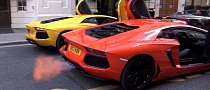 Lamborghini Aventador Twins: Flaming Rev Battle in London [Video]