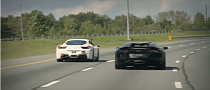 Lamborghini Aventador vs Twin-Turbo Ferrari 458 Italia Street Racing [Video]