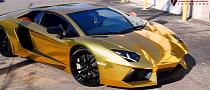 Lamborghini Aventador Wrapped in Gold Chrome [Video]